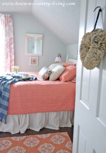 Coral Bedding in My Farmhouse Bedroom