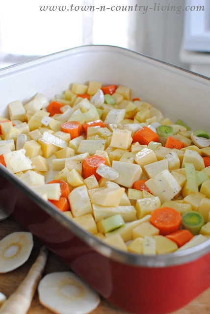 Roast Vegetable Medley Soup. Made with root vegetables.