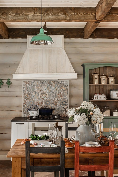 Ceiling Beams in Farmhouse Kitchen