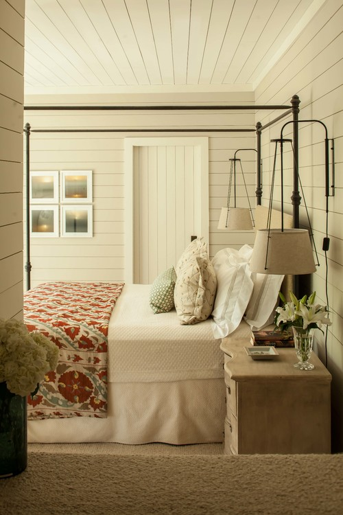 Farmhouse Bedroom with Shiplap Walls