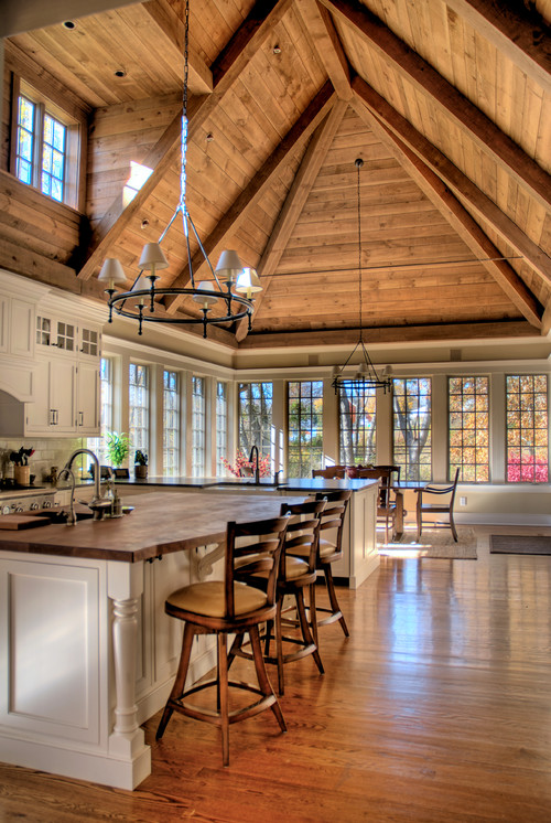 13 ways to add ceiling beams to any room town country for Adding wood beams to ceiling