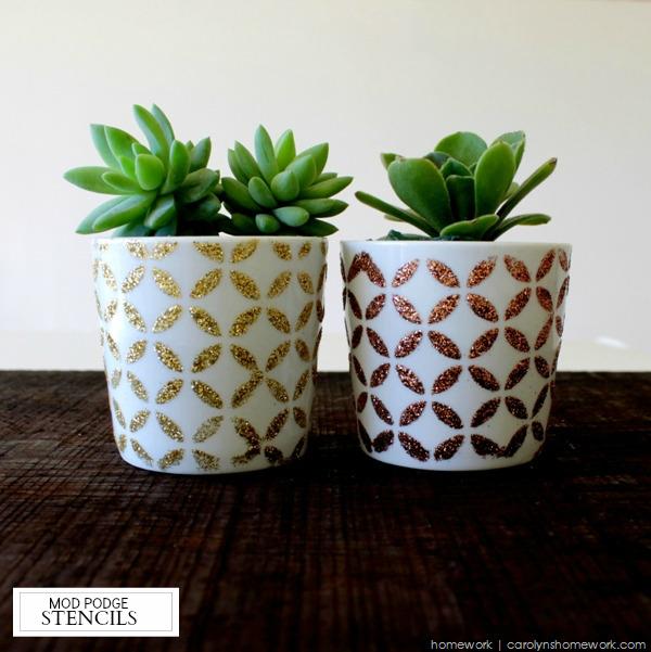 Glitter Stenciled Succulent Pots