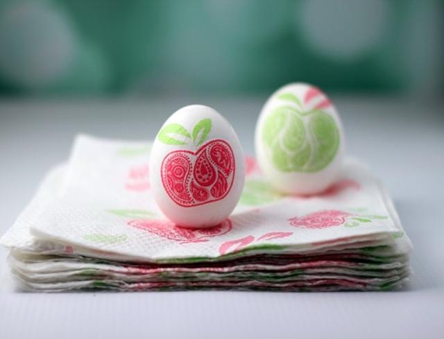 Paper Napkin Decoupaged Eggs