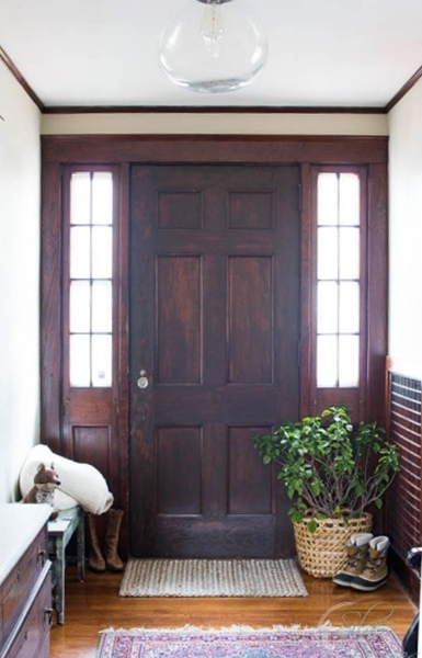 How to remove paint from a door, revealing its beautiful wood finish. See more ideas for decorating with doors.