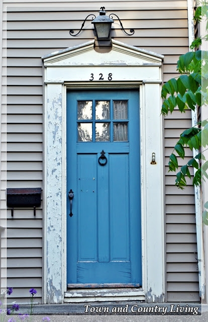 Blue Painted Door on a Historic Home