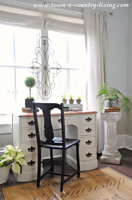 Painted Desk and Linen Drapes in Farmhouse Living Room