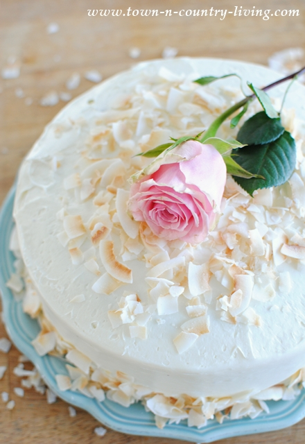 Elegant Spring Cake with Toasted Coconut