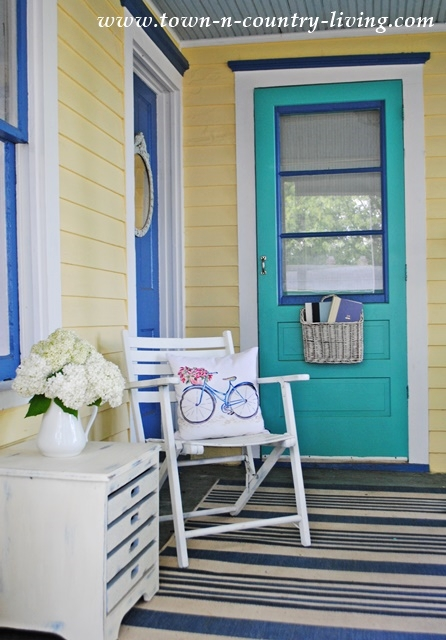 Aqua Door on a Farmhouse Porch