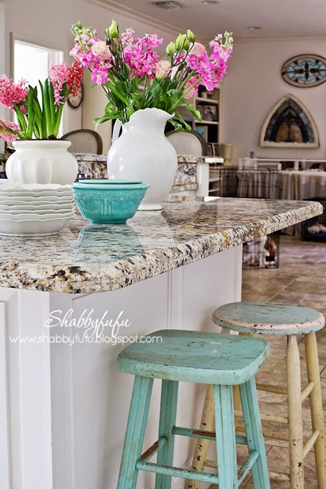Kitchen Island Shabby Chic Painted