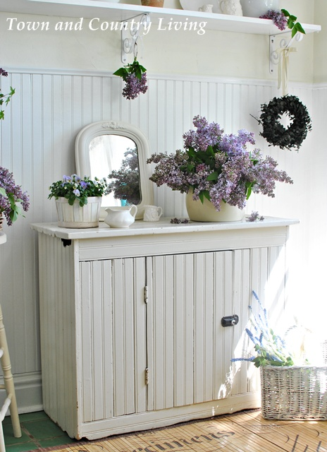 Lilacs in a Farmhouse Kitchen.