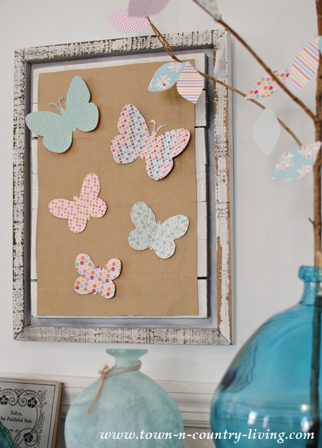 Paper Butterfly Wall Art, made from decorative card stock. Free butterfly template on the blog.