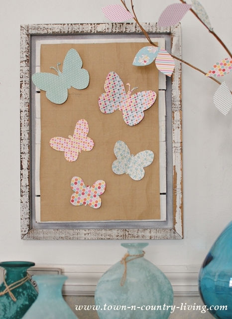 Paper Wall Art made with Scrapbook Paper Butterflies