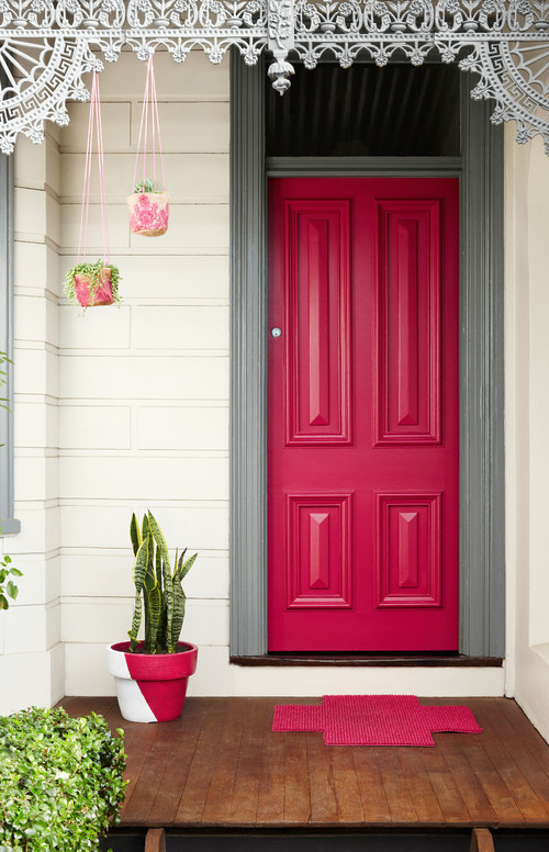 Exterior Pink Door. Make a statement by painting your front door a fun color!