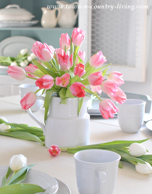 Pink Tulips in White Ironstone Pitcher