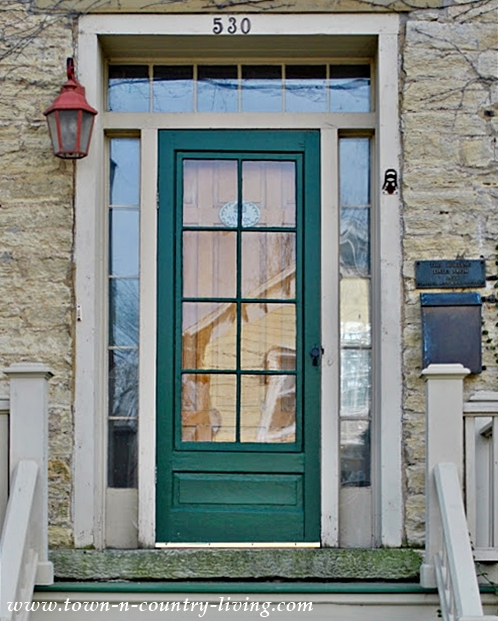 Turquoise Door on an Historic Stone House