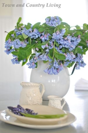 Virginia Bluebells in Enamelware Pitcher. See more arrangements of farmhouse flowers.