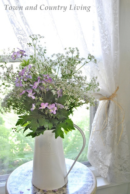 Wildflower Arrangement in Enamelware Pitcher