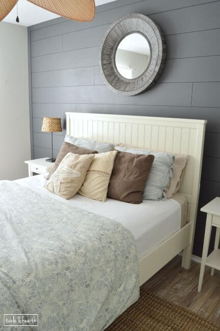 DIY Painted Shiplap in Guest Bedroom