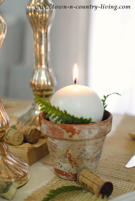 Ball Candle in Aged Terra Cotta Garden Pot