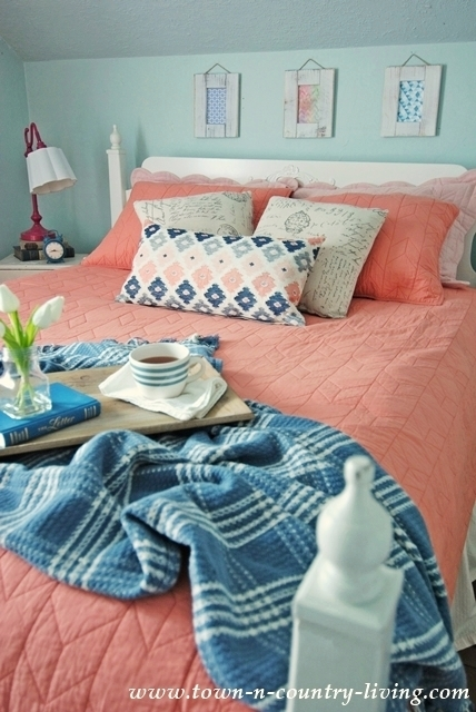 Coral Bedding in a Farmhouse Bedroom