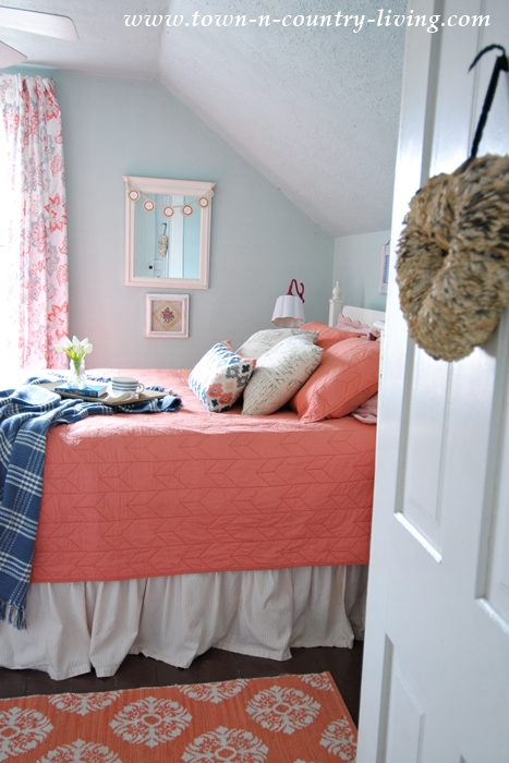 Farmhouse Bedroom with Coral Bedding from Crane and Canopy