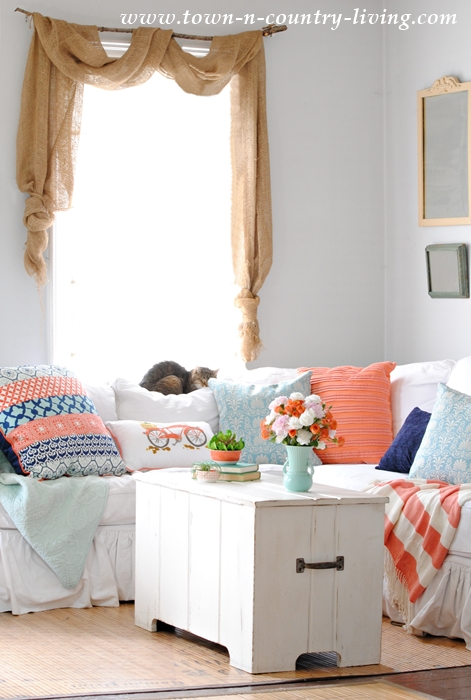 Pops of Coral in a Spring Farmhouse Family Room