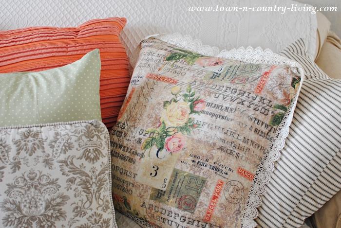 Spring Pillows in a Farmhouse Living Room