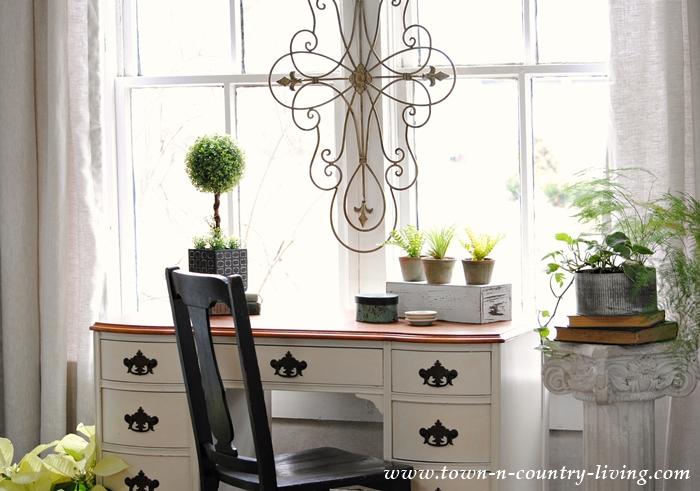 Desk in a Farmhouse Living Room