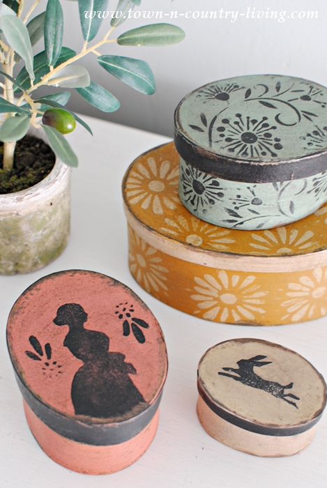 Country Style Paper Mache Boxes