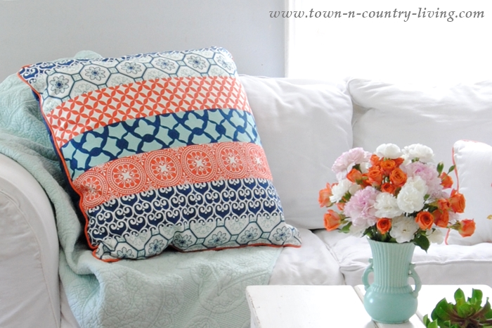 Blue and Coral Patterned Pillow