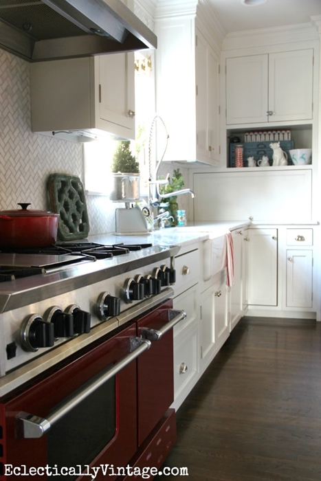 Red Stove in Eclectic Kitchen