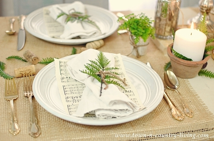 Landscape Burlap serves as table runner on nature-inspired table setting.