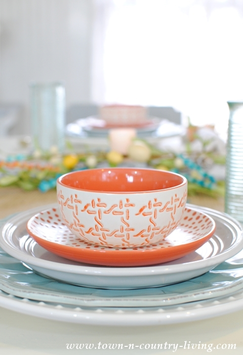 Spring Table Setting in Coral and Aqua