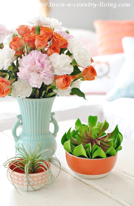 Succulents and Flowers Make a Spring Vignette