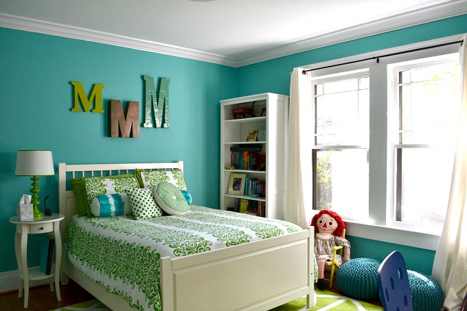Blue and Green Girls Bedroom