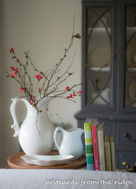 Quince Branches in Ironstone Pitcher