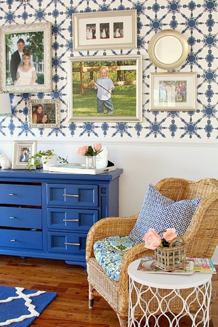 Blue Credenza in Home Office