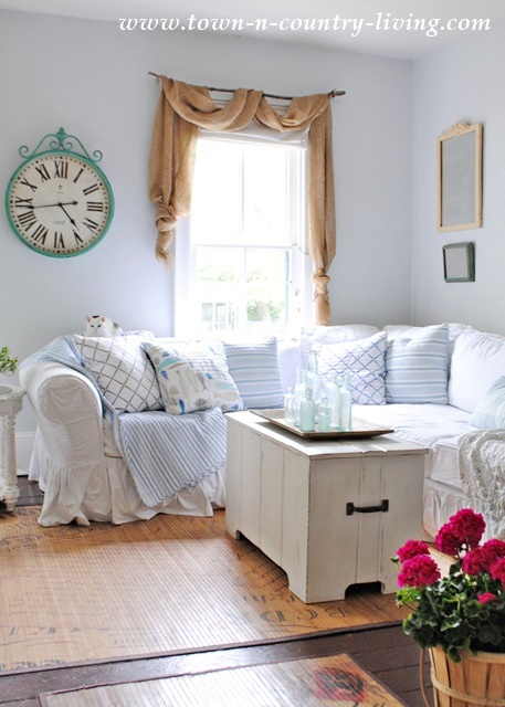 Blue Pillows in Summer Family Room