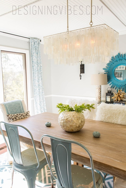 Blue Accents in Farmhouse Dining Room