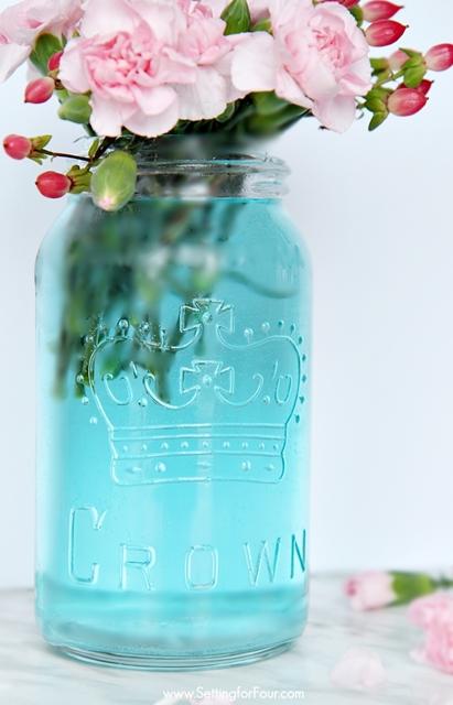 How to Tint Mason Jars Blue