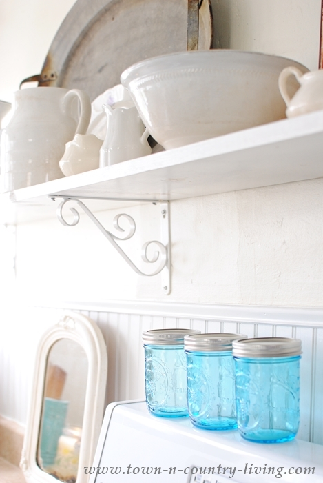 Blue Mason Jars in Farmhouse Kitchen