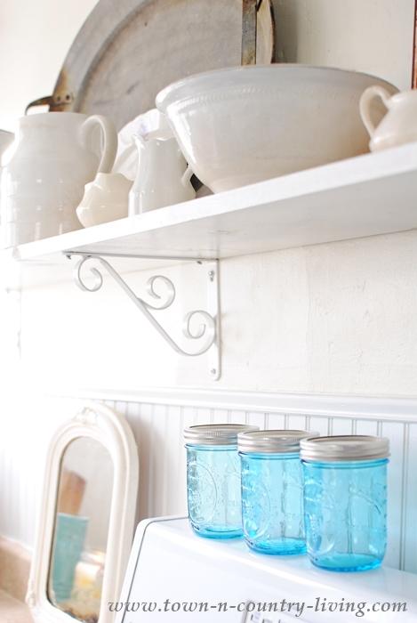 Blue Mason Jars in Farmhouse Kitchen