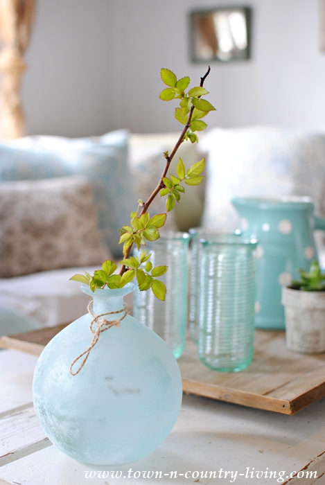 Blue Frosted Vase with Rose Bush Branch