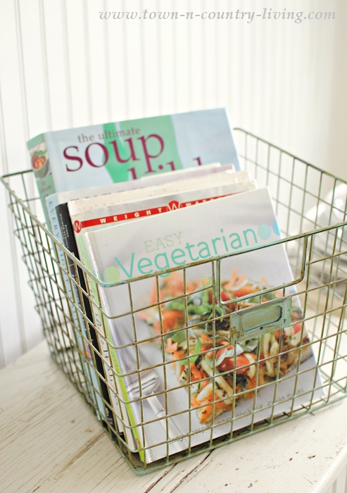 Store Cook Books in Wire Basket for the Farmhouse Look