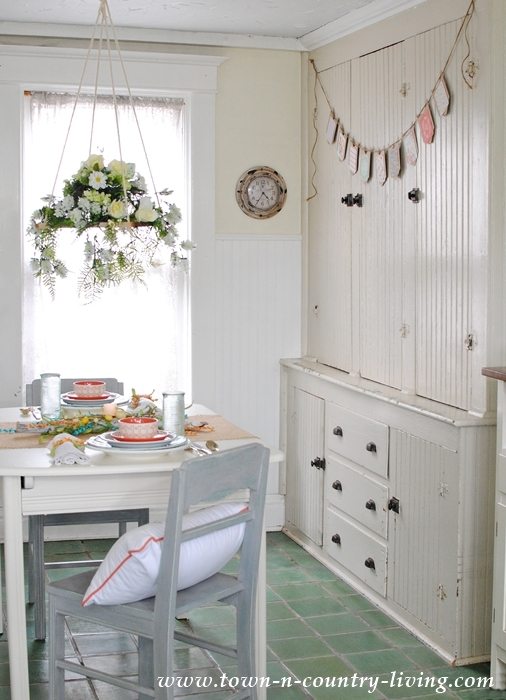 Spring Breakfast Nook with Floral Chandelier