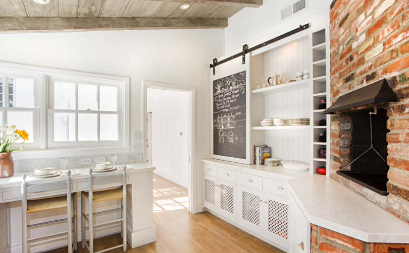 Farmhouse Kitchen with Brick Wall