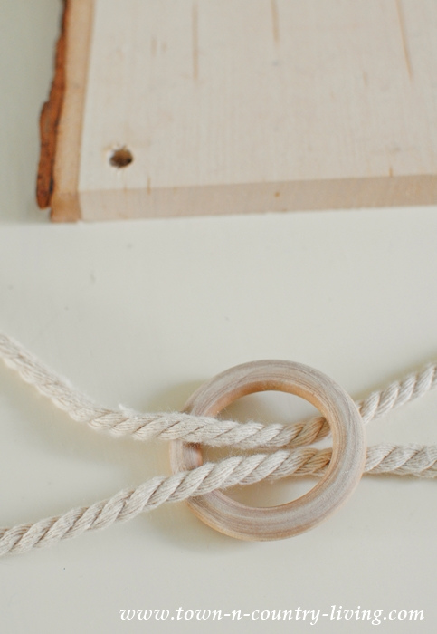 Rope and wood ring to make a floral chandelier