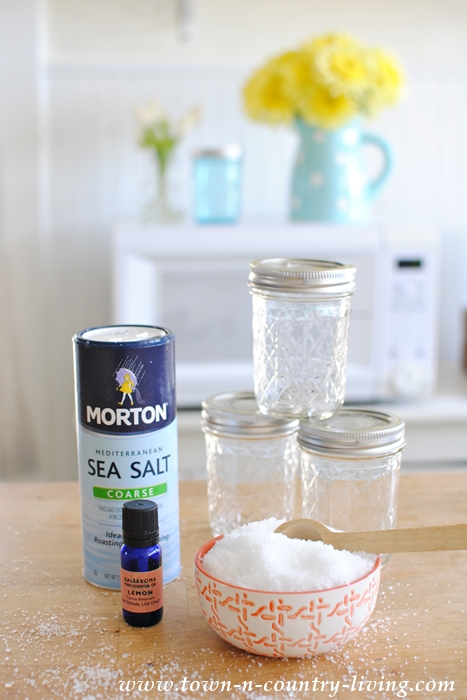 Supplies for Lemon Chamomile Bath Salts
