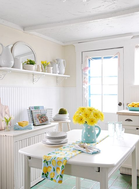 Farmhouse Kitchen Decorated for Spring