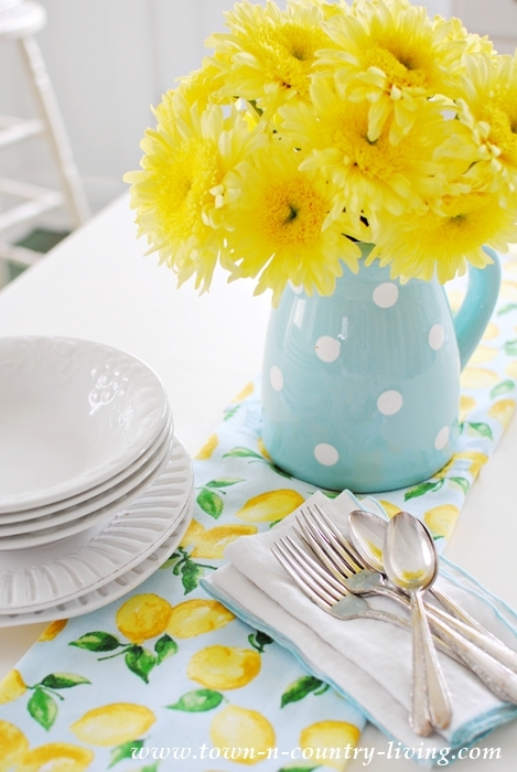 Yellow Gerbera Daises in Polka Dot Pitcher